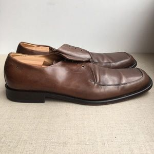 Hugo Boss Men US 11 Brown Leather Lace-Up Shoes